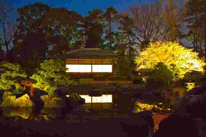 文化的価値の高い特別名勝「二之丸庭園」のライトアップは、光が歴史の重みと深みを浮かび上がらせてくれるようで、趣きある空間に身を置くことができます。