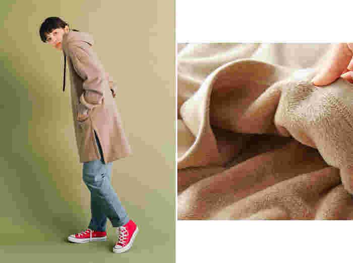 ファーのように起毛させた裏シャギーは、毛布のような暖かさなのに軽くてらくちん。ロング丈でお尻もすっぽり隠れるから、スタイルカバーも実現。旬のサイドスリットでパンツはもちろん、スカートと合わせてもバランスよく決まります。ほんのりとろみのある素材感&やさしい着心地で、大人カジュアルに着こなせるところも◎。