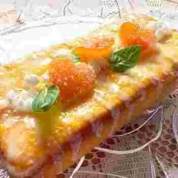 乾燥したスペアミントの葉を生地に練り込んだパウンドケーキです。さっぱりした味と香りが清涼感をもたらしてくれます。