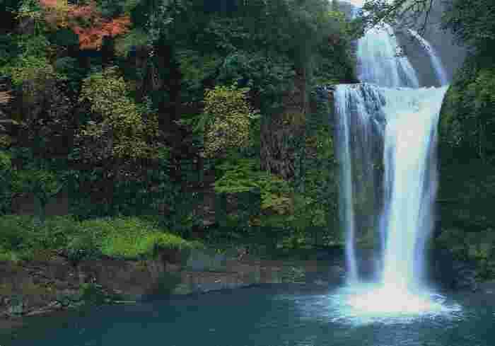 大分県日田市と玖珠町の境に位置する「慈恩の滝」は、観音の滝・桜滝と並ぶ「天瀬の三瀑」のひとつで、なんといっても落差30mの2段滝が魅力です。