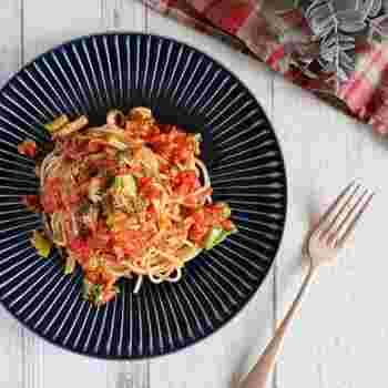ブロッコリーを使ったトマトパスタ。アンチョビがとても良い働きをしている絶品パスタです。