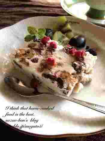 こちらはナッツにクルミを使ったレシピ。クランベリーとレーズンも入り、甘さと甘酸っぱさが美味しい夏レシピです♪飾りつけにフルーツをたっぷり飾っても素敵です。