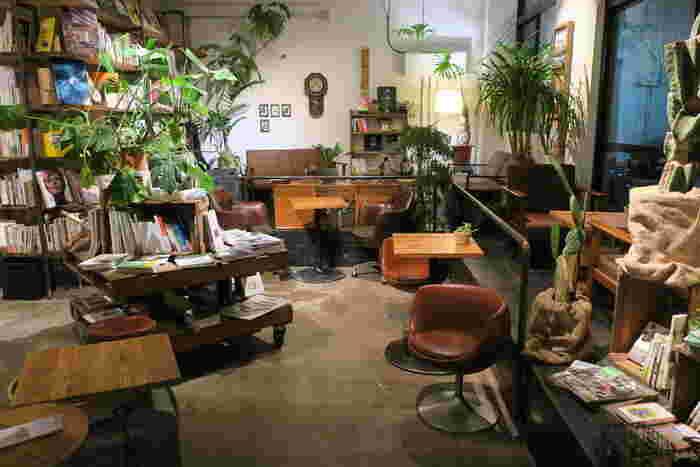 店内に入ると、観葉植物なども多く、木のぬくもりが感じられる空間。暮らし、料理、植物、DIY、町づくりをメインにセレクトされた本が並んでいます。