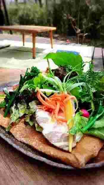 ハムと野菜のガレットは、彩り豊かなお野菜がたっぷり!食事系・デザート系までガレットの種類は豊富。