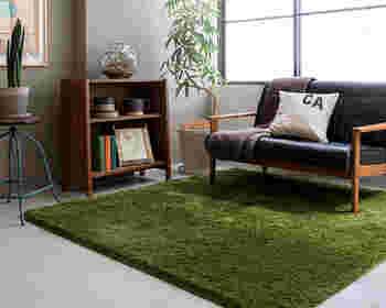 芝生のようなきれいなグリーンのラグで、癒されながらのんびりくつろぎタイム。観葉植物のあるお部屋にぴったり。ブラウンの家具とも相性◎見ているだけで落ち着きます。