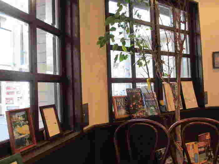 窓から差し込む陽射しが気持ちの良い店内。大きな観葉植物や洋書などがセンス良くディスプレイされています。