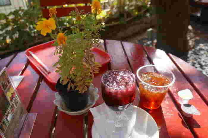 木陰のガーデンテラス席は、お天気の良い日には最高の雰囲気。ワインになる前の100%生ぶどうジュースがおすすめです♪