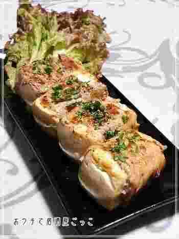 ヘルシーなお豆腐の肉巻レシピ。ガーリックとの相性がより食をすすめます。おうち居酒屋メニューにぴったり。