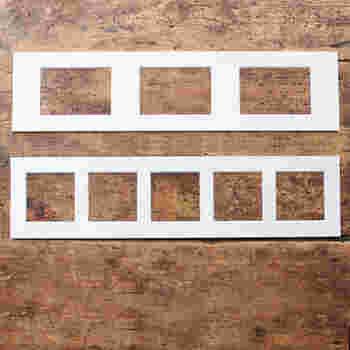 Lサイズのフォトフレームには台紙はこちらの2枚ついており、 ましかく写真5枚、またはL版写真を3枚を並べることができます。