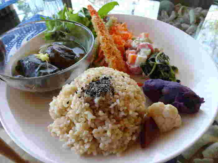 ベジタリアンメニュー、ヴィーガンメニューにも対応可能です。 ランチタイムにいただける「遊庭スペシャルプレート」は月替りメニュー。お料理には、肉や魚を使っていません。ご飯は福岡自然農園の無農薬玄米で、しっかり噛んで食べると味わいが広がります。お野菜もオーガニックのものを使用し、素材を活かした野菜だけの献立となっています。