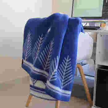 暖かいだけでなくシロクマのデザインやこんな鮮やかなブルーのブランケットなどデザインも様々!使わないときはちょこっと椅子やソファーにかけておくだけでも立派なインテリアグッズになりますね。