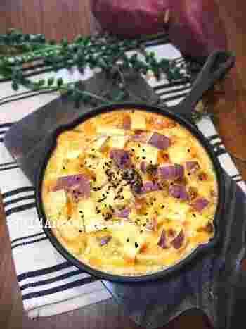 ほくほく甘いサツマイモと焼いたカスタードのハーモニーがたまらなくおいしい、甘い朝食。つい食べ過ぎちゃいそうですね。