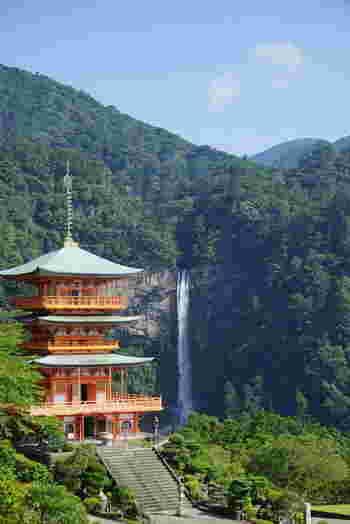 日本三大瀑布のひとつで「日本一の大滝」とも呼ばれる和歌山県の那智の大滝(なちのおおたき)は、世界遺産にも登録されています。その落差はなんと約133m!さらに滝幅約13m、滝壷の深さも約10mあり、毎秒1t以上もの水量を誇ります。  一本の滝が垂直に流れ落ちる様子はまるで龍のようで、熊野那智大社の御神体としても祀られています。