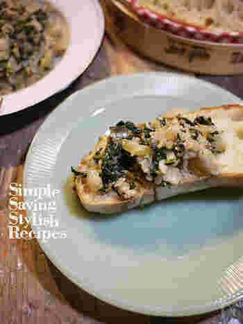 ちょっと珍しい葉物野菜「ビエトラ」と旬のシラスを使って作る、イタリアではお馴染みの料理・ブルスケッタ。特別な食材で、ちょっぴり大人なひとときを…。