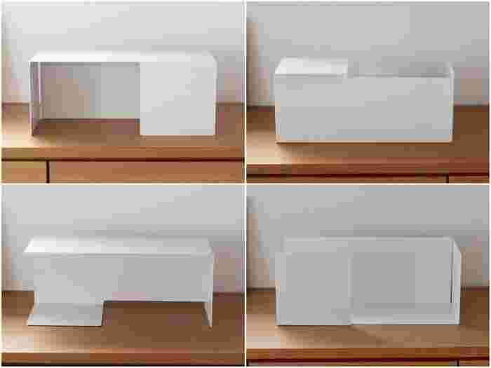 スチール板を曲げただけの、シンプルなスタンド。奥向きによって、飾り棚になったり、ブックシェルフになったり…向きと左右を置き換えることで、いろいろなパターンの使い方ができます。
