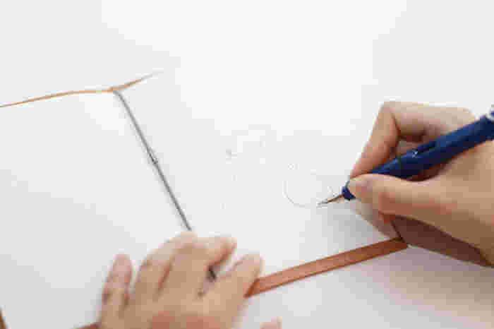 挟んだ紙をノートのように使えるようにしたのが裏紙ノート。A4サイズを折って挟むだけの使い方です。A6の文庫本サイズで机の上や鞄の中でもかさばらないちょうどいいサイズです。