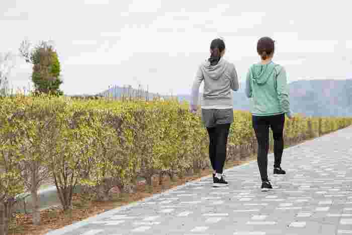 朝にカラダを動かすとその日の活動量がアップして痩せやすいカラダになると言われています。激しすぎず適度な運動としてはウォーキングはベスト。また朝日を浴びながら行うことで、幸せホルモンと呼ばれるセロトニンが分泌され、リラックス効果も期待できるでしょう。