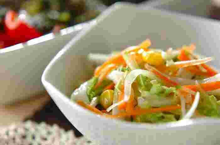 濃厚なビーフシチューには、さっぱり風味の白菜のコールスローなども合いそう。シャキシャキとした歯応えも、美味しいアクセントになります。