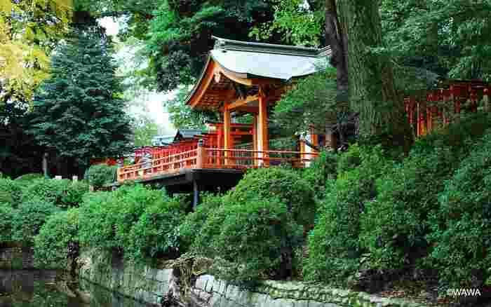 池にせり出した社殿が印象的な「乙女稲荷神社」は、まるで能や歌舞伎の舞台のよう。ここには穀物を司る「倉稲魂命(うかのみたまのみこと)」が祀られていて、縁結びのご利益があると女性の間でひそかに注目されています。