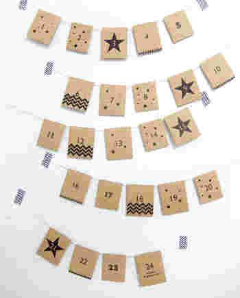 袋やカードに紐を付けて横につなげて飾れば、オシャレなガーランドに♪クラフト紙に好きなデザインを印刷すれば、オリジナルアドベントカレンダーの出来上がり。