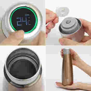 AI技術を導入することで、ワンタッチで温度表示され、それだけでなく、水分補給のタイミングを知らせてくれるアラーム機能まてついている、機能性バッチリのボトルです。