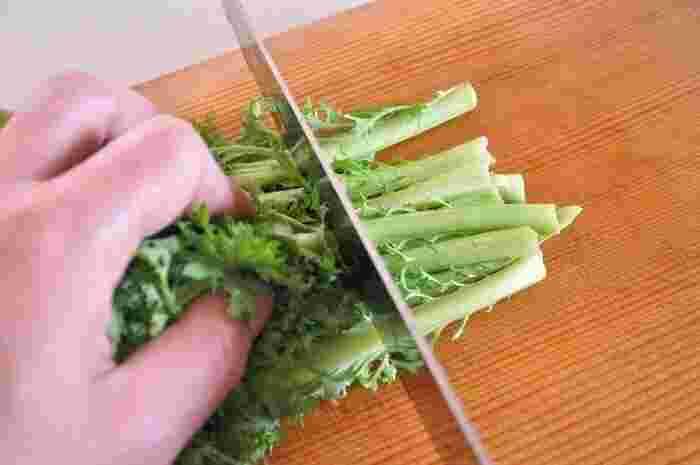 わさび菜は、内側の葉が若く柔らかく、外側の緑の濃い葉になるほど固い食感になっています。そのため、内側の柔らかい黄緑色の葉は、生のままサラダで辛みを生かし、外側の固い葉は、下茹でしておひたしやあえ物など火を通す料理にと、外の葉と内側の葉で使い方を分けるのがおすすめです。