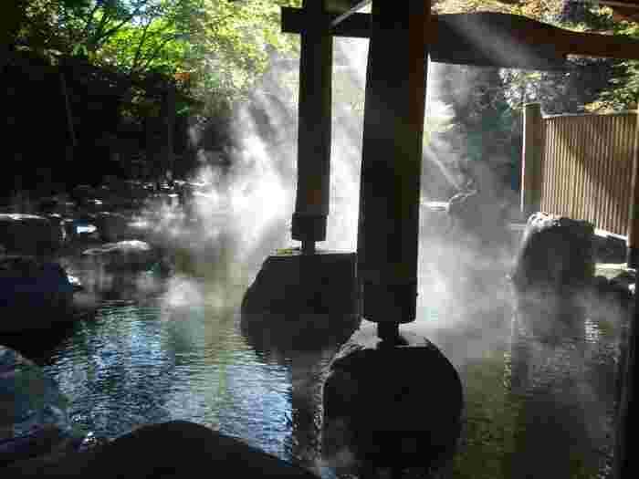 雄大な自然の中で入る露店風呂、日頃のストレスを洗い流して、ゆ~ったりくつろぎましょう。
