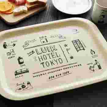 """""""LUIK HOTEL TOKYO""""という、架空のホテルをイメージして作られたトレイです。キナリのキャンバス地デザインと、手書き風のイラストにほっこり。食洗器使用可能で、お手入れが楽ちんなのも魅力です。"""