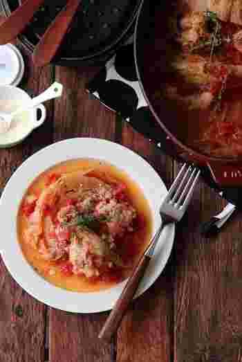 ●トマト煮込み 材料を入れたら後はお鍋にお任せでコトコト煮込むだけの簡単レシピ。一度冷ますことで、より柔らかく味も馴染んで美味しくなります。