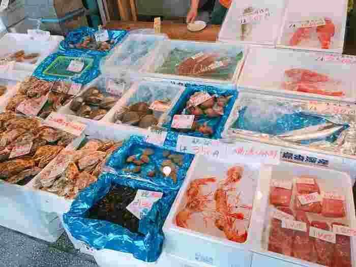 創成川通りのほとりにある二条市場。明治初期に、石狩浜の漁師が新鮮な魚を売り始めたのがはじまりといわれています。とおり沿いには蟹や鮭など、お土産に買いたい北海道の海産物がズラリ。また市場内だけでなく、すぐそばの「のれん横丁」「創成川イースト」などにも個性的な飲食店が集まります。