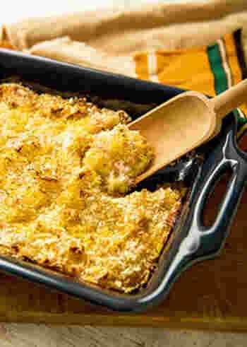 揚げなくても香ばしい!ヘルシーなクリーミースコップコロッケです。一つひとつ形を作らなくてよいので、手間がかからず簡単に作れます。トースターで焼き上げたアツアツのクリーミーなやさしい味をぜひ堪能して。