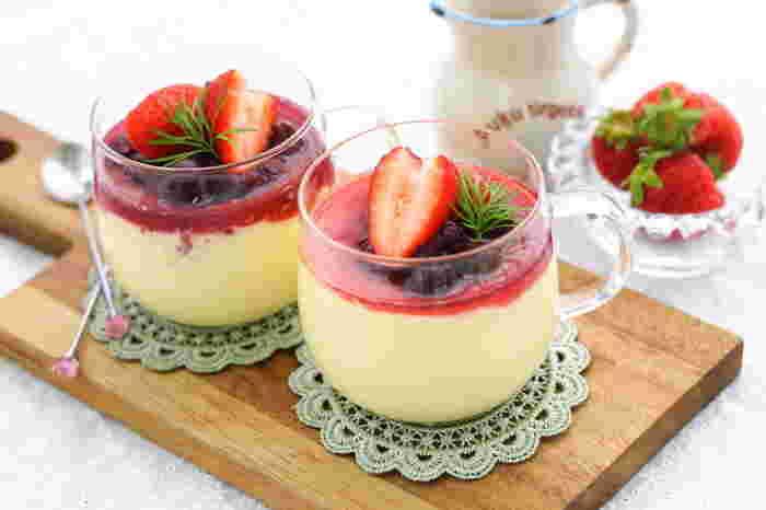 電子レンジで作れる簡単レシピ♪お好みのジャム、フルーツ、生クリームなど可愛らしく飾って♪