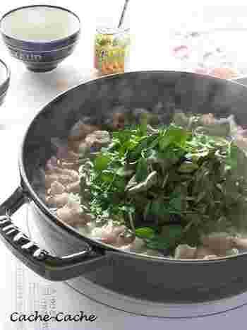 こちらも豚バラ肉がとってもいい味を出してくれている「豚肉とクレソンの鍋」。クレソンは生で食べたり、お肉の添え物の印象が強いですが、ビタミン豊富なクレソンは美肌効果に一役買ってくれるありがたい食材なんです。そんなクレソンを少し火入れしてもぐもぐ頂けれるこのお鍋は疲れた体に染み渡る美味しさで大注目ですよ!