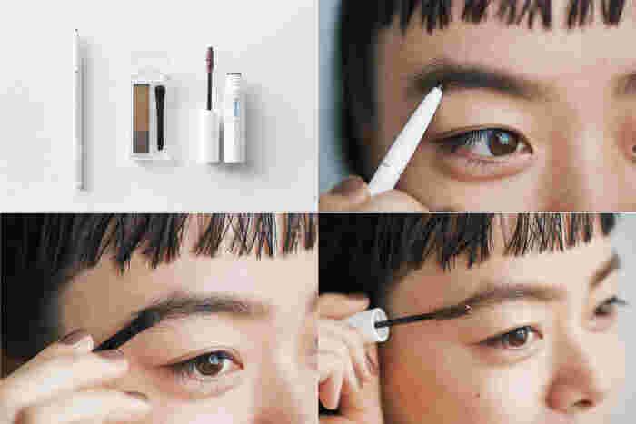 <使用アイテム> アイブロー ペンシル くり出し式 22/アイブロー パウダー GR30★/アイブロー マスカラ BR20★ 1.アイブロー ペンシル くり出し式をちょんちょんと動かしながら、毛の足りない部分を整える。 2.アイブロー パウダーの中央の淡い茶色で眉を少し太めに描き、さらに上のカーキを眉全体にふんわりのせる。 3.アイブロー マスカラで毛流れを整える。最初に眉毛の流れに逆らうようにブラシを動かしてから、眉毛の流れに沿うように動かすと美しい仕上がりに。