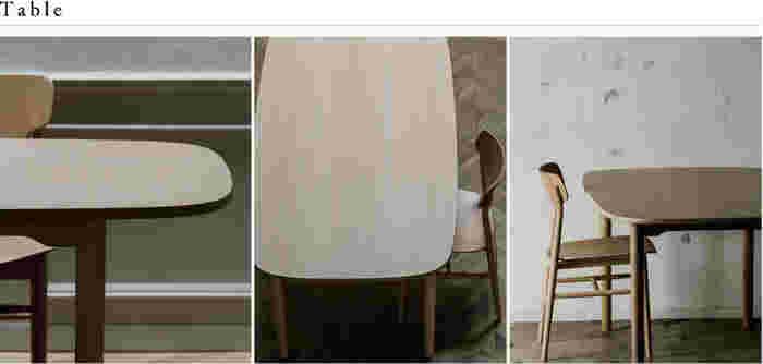 暮らしに馴染む、丸みを帯びたテーブル。シンプルながらも優しいぬくもりがあります。ショップで展示しているものを見ているだけでワクワクしてきそうなデザインが素敵。