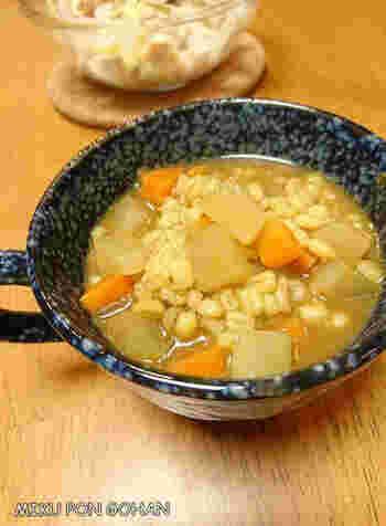 ダイエット中でカレーはちょっと我慢…でも、カレールウ1個のスープなら大丈夫そうですね。こちらは、食べ応えがあって栄養も満点のもち麦入りですので、ダイエット中にもおすすめ。