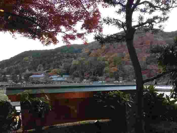 店内からは嵐山の景色を一望できます。もちろん、近くの渡月橋も見えますよ。