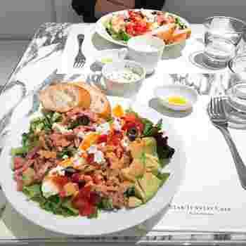 ボリューム満点の「コブサラダ」は、ポタージュとパンがセットになっています。真っ白なプレートにカラフルなお野菜が映えますね。女性なら、このワンプレートでお腹いっぱいになりそうです。