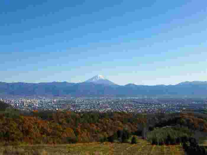 """登美のワイナリーは、名前のとおり山梨県の甲府盆地を望む""""丘""""の上にあります。この景色はとにかく感動的。デートにぴったりのスポットです。"""