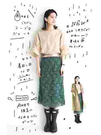 きれいめファッションをかわいらしくまとめてくれるミドル丈。ミディ丈のスカートによく合います。
