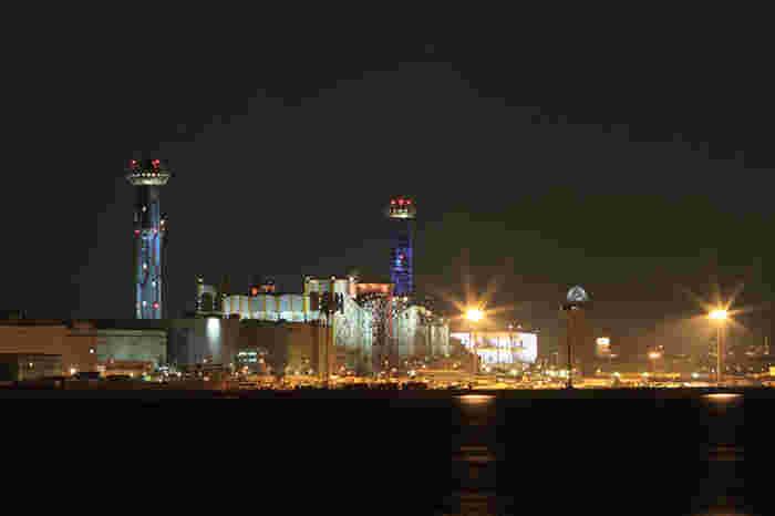 その対岸、大阪湾の向こう側に見える奇妙な建物は、オーストリア・ウィーンの芸術家がデザインした大阪市環境局の舞洲工場。つまり、ゴミ処理施設です。湾のアチラとコチラの対比がユニークですね。 「それが大阪のええとこやん?」