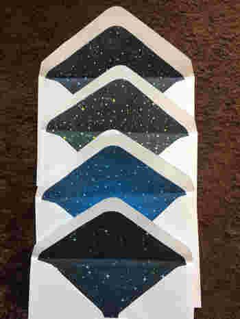 白のシンプルな封筒かな?と思いきや、内側には宇宙が!貼り付けるだけでできるので、いろいろな柄の紙を使ってオリジナルの封筒を作ってみたいですね。