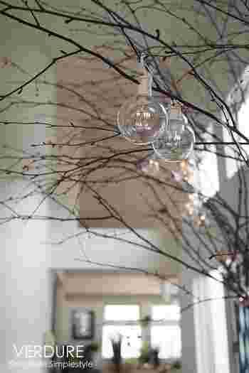 モミの木が無くても、いつもの観葉植物に飾りをつければツリー気分♪綺麗なガラスのランプを飾って夜は明かりをともしてみましょう。クリスマスムードが高まります。