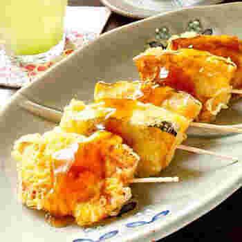 つい作りすぎて余ってしまったら、翌日みたらし団子に使うあんをからめて、おやつにどうぞ。砂糖やお醤油、お酢などこちらもお家にある調味料でおいしいみたらしあんを作れるので、前日にたっぷりかぼちゃの天ぷらを揚げておけば、翌日もおいしくいただけます。