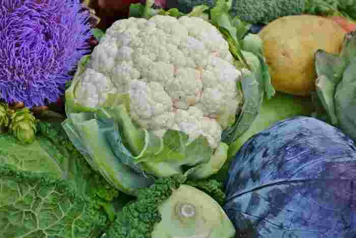 そのほかにも、この時期旬のカリフラワーには、美肌効果が期待できるビタミンCが豊富に含まれており、他の野菜に比べて火を通しても損失が少ないので冬にたくさん食べておきたい野菜の一つです。洋風なアレンジのイメージが強いカリフラワーですが、和風の味付けやフライにしても美味しい食材です。そのほかにもカルシウムが豊富で下処理の必要がない「小松菜」、血行促進や風邪予防に効果てき面の「ネギ」もこの時期旬の食材です。