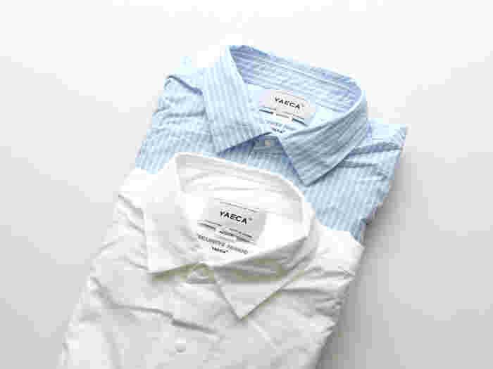 YAECAといえばコンフォートシャツ。小さめの襟とボタンなど、ディティールが素敵です。こだわりの1枚を探すなら、YAECAがおすすめ。