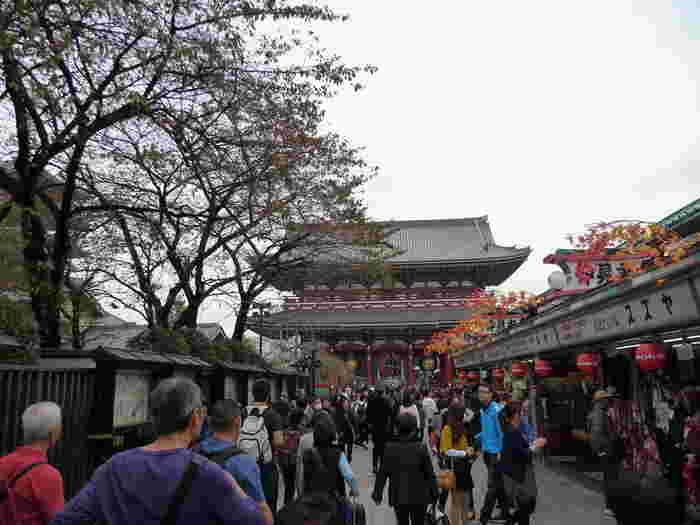 雷門から浅草観音に向かう仲見世には、日本的な物で溢れています。人形焼きや揚げ饅頭など和スイーツを片手に、着物や和雑貨などお土産品を物色してみましょう。