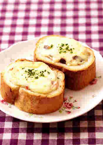 厚めにスライスしたフランスパンでも、まるごとパングラタンができちゃいます♪パンを切り取らずにくぼみを作るので、パンが余る心配もありません。