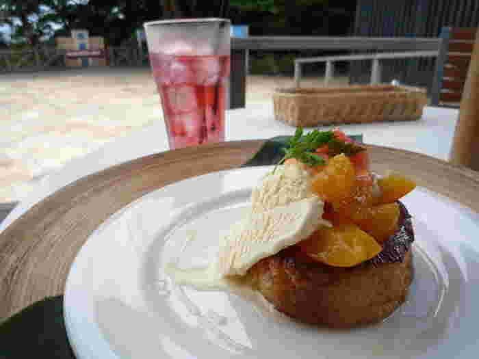 こちらのカフェは、日本発のフレンチトースト専門店としても有名です。オリジナルソースにじっくりつけ込み、外はカリカリ中はトロトロに焼き上げた名物のフレンチトーストを食べに、わざわざ遠方から訪れるファンも多いんだとか。「ピンクグレープフルーツとオレンジ、アプリコットジュレのフレンチトースト」は、爽やかなジュレのさっぱりとした味わいが魅力です。