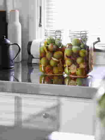 だんだんと果物の様子が変化していくのを見るのも面白いですね。梅はとくに変化が大きく、しわしわになる過程まで愛おしく思えてきます。